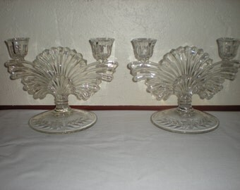 U.S Glass Candle Holders approx 1930's- Double Candle