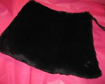 1940's black fur muff purse