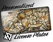 Personalized License Plate -AT1218- Custom License Plate Airbrush License Plate Monogram - MossyOak Camo License Plate