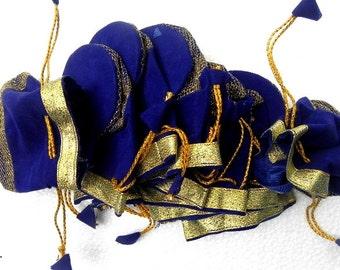 Handmade ethnic 10  Pcs lot ZARI ,VALVET , travel jewellery bag, blue pouch, bridesmaids gift,
