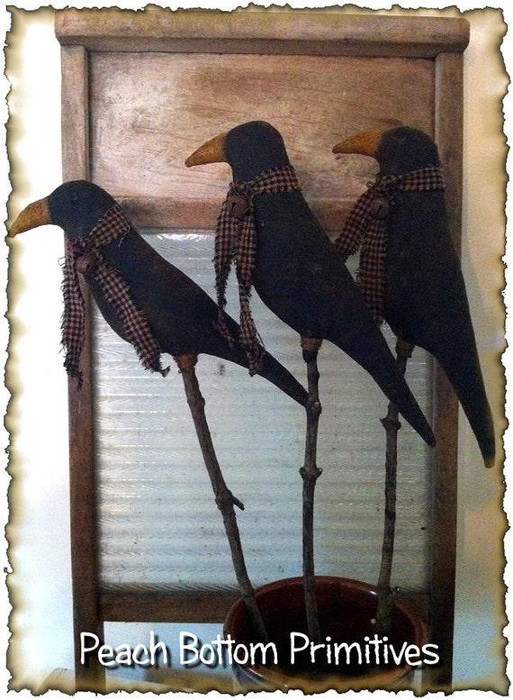 Epatternprimitive Crows On Sticks Crock Fillers Pokes