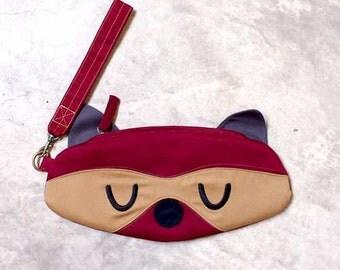 Wristlet - Bandit The Raccoon Wrist-Poche (BURGUNDY)