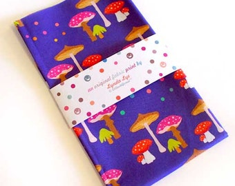 Mushroom Fabric, Mushroom Print, Mushroom FAT QUARTERS, Mushroom fat quarter, Indigo fabric, Purple fabric, Polka Dots - Magic Mushrooms