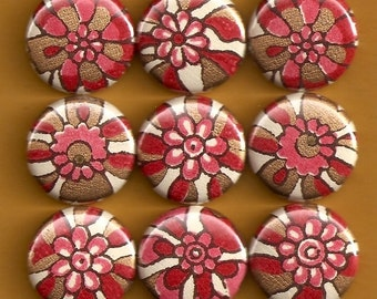 One Inch Magnet Set - Indian Flowers