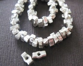 Rustic Fine Silver Karen Tribe Block Spacer Beads