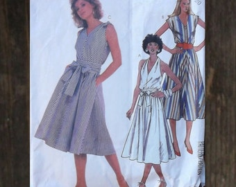 Vintage 80s does 50s Halter Or Sleeveless Day Sundress / Marilyn Monroe Dress Sewing Pattern / McCall's 2028  // Size 20 Bust 42