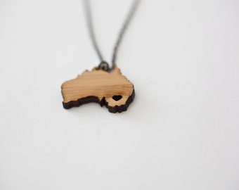 Australia Necklace - Bamboo Australia Country Necklace Outback Charm Outdoors Kangaroo Necklace Sydney Map Jewelry