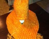 Orange Scarf and Hat Set