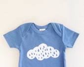 Rainy Day Baby - baby shower gift (6-12 mo - blueberry - short sleeve romper)