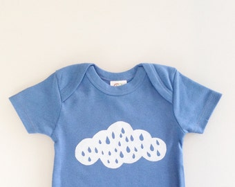 Rainy Day Baby - baby shower gift (3-6 mo - blueberry - short sleeve romper)