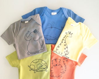 Animals! Five hand screen printed animal rompers - 6-12m - modern shower gift  - gender neutral baby gift set (optional gift box)