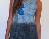 Nuno Felt Dress, blue sky, slate, Flower dress, Art to wear dress