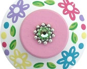Multi Color FLOWERS and Polka DOTS  Swarvoski Crystal Jeweled Hand Painted Wood Drawer Pull Knob Kids