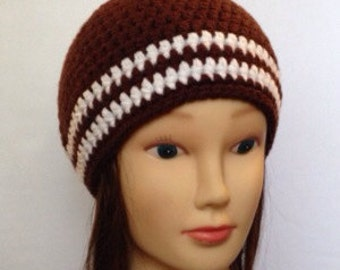 Striped Beanie in dark brown with 2 white stripes - Unisex - Small, medium or large