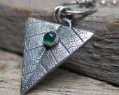Robin Goodfellow aka Puck (A Midsummer Night's Dream) necklace   ... antiqued recycled fine silver metalwork leaf with emerald