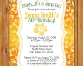 Surprise Birthday Celebration Invitation Tropical Hawaiian Hibiscus Flower 50th  Milestone Adult Birthday 5x7 Digital JPG Printable (276)