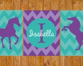 Chevron Horse Wall Art Decor Personalized Name Western  Horse Purple Lavender Teal Turquoise DIY Printable 8x10 Digital JPG Files (135)