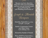 50th Golden Anniversary Invite Burlap and Lace Gold 50 Years Chalkboard Look Invitation Printable 5x7 Digital JPG (351)