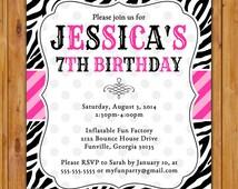 Pink and Black Zebra Print Birthday Party Invitation DIY Polka Dots Invite Girl's 7th 8th 9th 13th Animal Print 5x7 Digital JPG File (310)