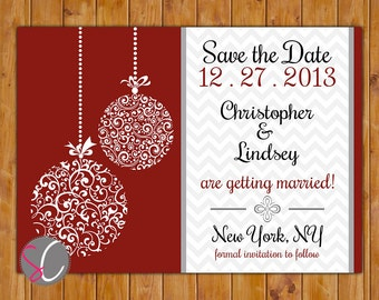 Save the Date Chevron Christmas Wedding Card Ornate Ornament Company Christmas Holiday Party Red White Black DIY Printable 5x7 JPEG (80)