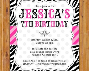 Pink and Black Zebra Print Birthday Party Invitation DIY Polka Dots Invite Girl's 7th 8th 9th 13th Animal Print 5x7 Digital JPG File (310)