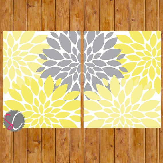 Yellow Flowers Wall Decor : Instant download yellow grey wall art spring flower burst baby