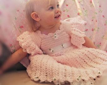 Angel Song Dress Crochet Pattern Size 3 mos - Girls Size 5