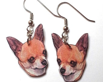 Handcrafted Plastic Tan Chihuahua Head Choice of Earrings, Necklace or Keyring