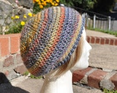 Crocheted Slouchy Hat for Women - Beret in Blue, Yellow and other colors - Women's Hat - Fall Accessories - Blue Hat