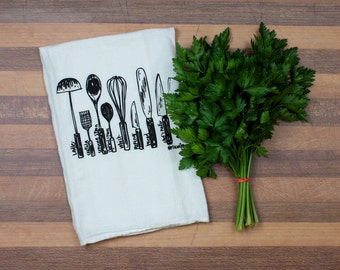 Utensils diagram tea towel - white cotton floursack kitchen towel