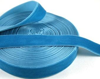 Venetian Blue 16 mm Polyester Velvet Ribbon- 1 Yard