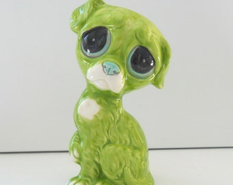 Ceramic Pity Puppy Dog Bud Vase Figurine Vintage Design in Chartreuse Green Home Decor Kitsch Big Eye Dog Wide Eye