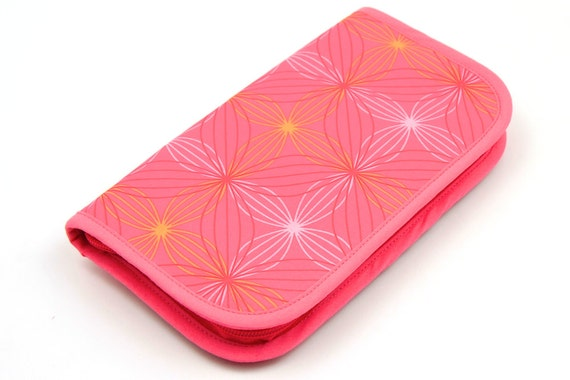 Travel Zip Around Knitting Needle Case - Wireframe - pink pockets see-thru notions zipper pouch
