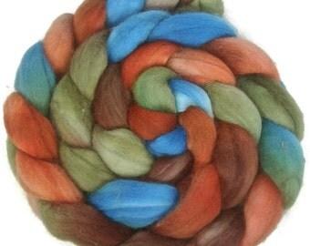 Handpainted Superwash BFL Wool Nylon 80/20 Sock Roving - 4 oz. COPPER HILLS - Spinning Fiber