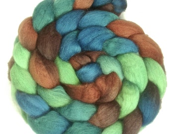 Handpainted BFL Wool Roving - 4 oz. MALLARD - Spinning Fiber