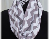CLEARANCE Infinity Chevron Scarf Gray White