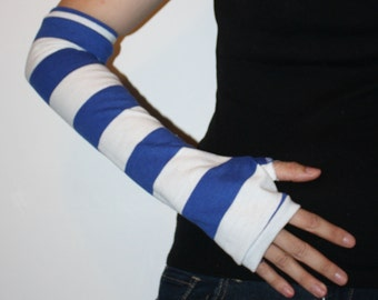 Blue and White Striped Arm Warmers X Long