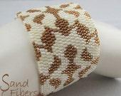 Anne's Cream Brocade Peyote Cuff - An Original Sand Fibers Creation