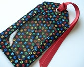 Fabric Luggage Tag - Bright paw prints on black Vacation Bag ID Tag, unique id tag for your bag