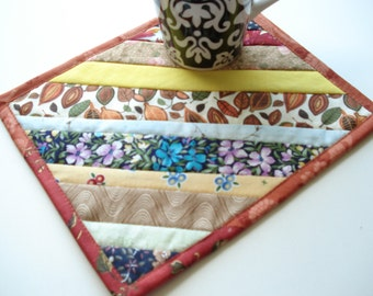 Strip Pieced Quilted Mug Rug, Snack mat, large coaster, fall colors, Scrappy Patchwork, Candle Mat