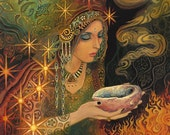 Sage Goddess Gypsy Pagan Psychedelic Witch Art 5x7 Greeting Card