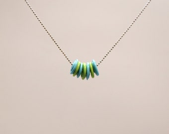 Art Glass (Lampwork) 'Discs' Necklace Blue & Green #2