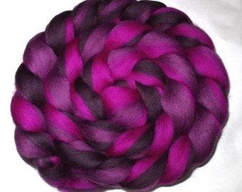 Merino wool roving, spinning fiber, felting wool, felting fiber, dreads, dolls hair, rainbow roving, purple shades, 21 micron,  100g, 3.5oz