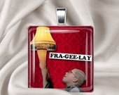 Christmas Necklace - A Christmas Story - Leg Lamp - Frageelay - Holiday Square Glass Tile Pendant