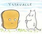Mr Toast & Moomin Troll Original Drawing By Dan Goodsell