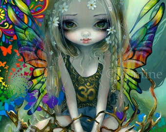 Paisley hippie surreal flower child fairy art print by Jasmine Becket-Griffith 12x16 BIG hippy peace tie-dye