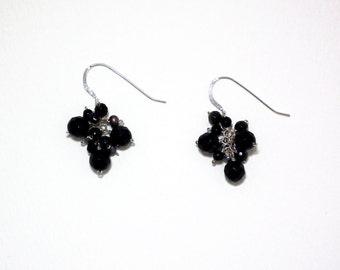 Zlatina - Black onyx, obsidian, and pearl earrings
