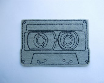 Grey cassette iron on patch applique - band patches - cute patches - music - cassette tape - embroidered patch - gray felt - sew on patch
