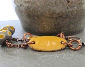 Yellow Earrings, Enameled Earrings, Deep Yellow, Enameled Copper, Saffron Yellow, Dark Grey, Yellow Dots, Lampwork Glass