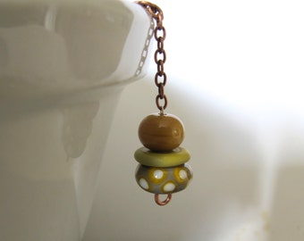 Copper Necklace, Golden Grey Glass, Glass Pendant, Copper Chain, Chain Necklace, White Dots, Yellow Dots, Copper Jewelry, Lampwork Glass,